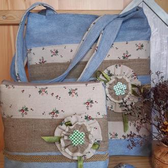 Комплект (сумка и косметичка) из джинсовой ткани