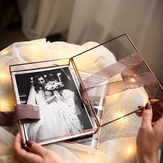 Шкатулка стекляная для фото