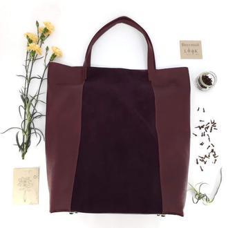 """Кожаная сумка - шоппер """"Гвоздика"""" (бордовый)"""