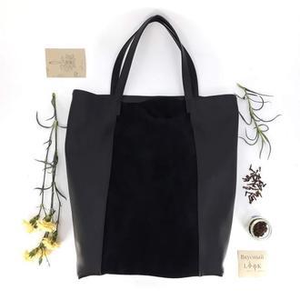 """Кожаная сумка - шоппер """"Гвоздика"""" (черный)"""