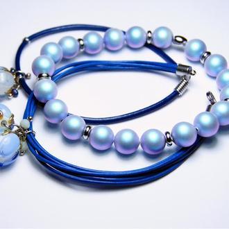 """Сет браслетов """"Сияние синего цвета"""""""