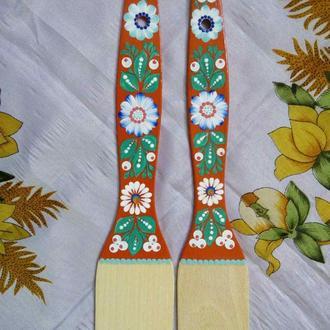 Лопатка деревянная Петриковская роспись ручная работа красная