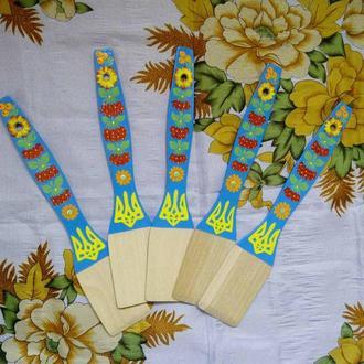 Лопатка деревянная Петриковская роспись Герб Украины