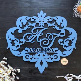 Свадебная монограмма / Инициалы с датой на свадьбу / Семейный герб, из дерева