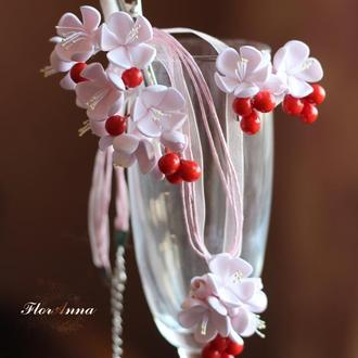 """Свадебный комплект украшений ручной работы """"Цвет вишни"""""""