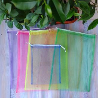 Набор эко мешочков из сетки 6 шт, эко торбочки, мешки для продуктов, еко мішки із сітки 02(3)