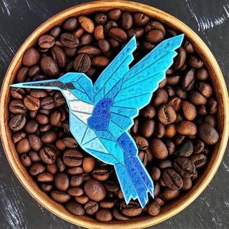 Брошка Колібрі, брошка Пташка в геометричному стилі (в будь-якому кольорі на замовлення)