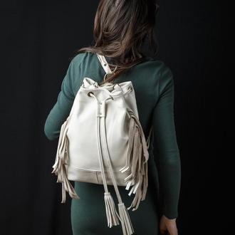Кожаный рюкзак трансформер со съёмной бахромой, Женский стильный рюкзак сумка