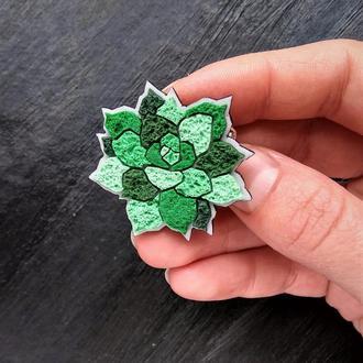 Авторська брошка зелений Сукулент - кам'яна троянда. Геометрическая брошь кактус, брошь вазон цветок