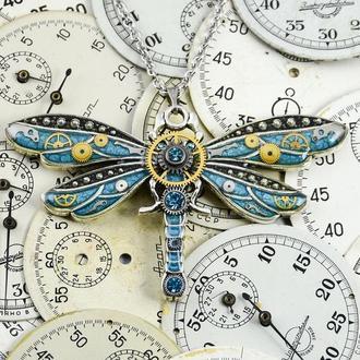 Кулон стрекоза с настоящими деталями от часовых механизмов в стиле стимпан (конец апреля-май)