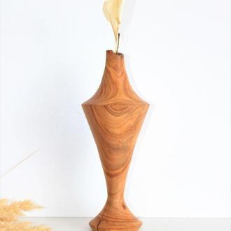 Ваза ручної роботи з дерева, декоративна висока ваза для сухоцвітів