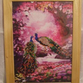 Картина «Павлины». Алмазная вышивка