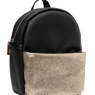 Женский черный с глиттером рюкзак, экокожа