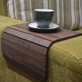 """Деревянная подставка накладка, коврик, столик на подлокотник дивана """"Орех"""" #2i2ua"""