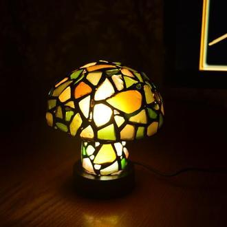 """Витражный светодиодный ночник из морского стекла """"Грибок"""", 150мм"""