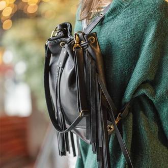 Женский черный кожаный рюкзак сумка, Кожаная сумка через плечо