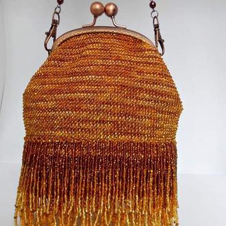 Сумочка из бисера, вечерняя сумочка, золотая сумочка