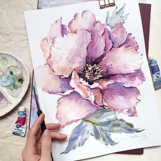 """Картина акварелью ботаническая иллюстрация""""Розовый пион"""""""