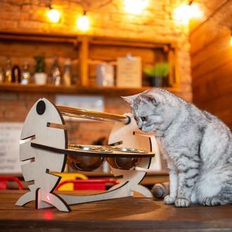 Миска-кормушка для домашних животных Рыбка на 2 миски