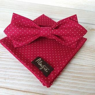 Красная бабочка в горошек и платок паше