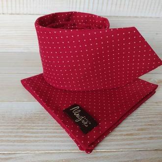 Красный галстук в горох и платок Паше