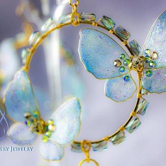 Серьги с бабочками и бусинками