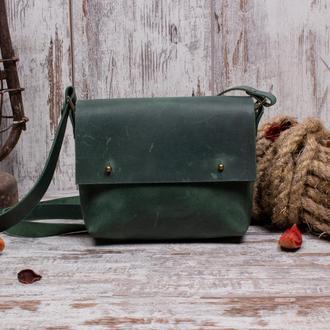 Небольшая кожаная сумка на кобурных застежках зеленый
