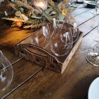 Поднос для бокало-посуды из дерева и винной пробки\ Оригинальный винный декор ручной работы.