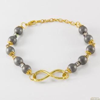 Браслет из натурального гематита ′Золотая Бесконечность′.