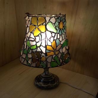 """Настольная лампа """"Дикие цветы"""", витраж Тиффани из морского стекла"""