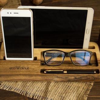 Деревянная подставка органайзер для офисных принадлежностей телефона планшета очков из дерева мужу