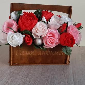 Букет из гофробумаги, цветы из бумаги, букет для любимой
