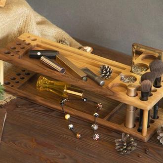 Деревянный органайзер для косметики костей кисточек макияжа большой из дерева на подарок