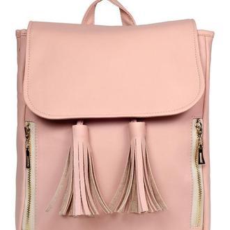 Вместительный женский пудровый рюкзак, экокожа
