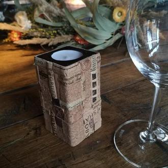 Свеча из винной пробки \ Декоративная свеча ручной работы \ Эксклюзивный винный декор