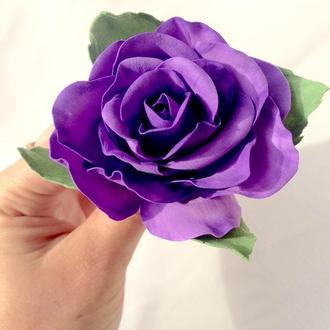 Заколка с Сиреневой Розой