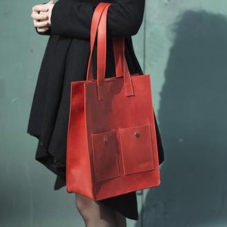 Удобная и стильная кожаная сумка для покупок красный