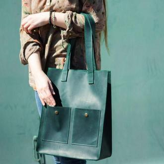 Удобная и стильная кожаная сумка для покупок зеленый