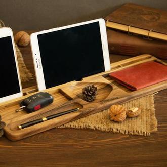 Органайзер деревянный Подставка Деревянная для телефона планшета для мужчины, Мужской органайзер