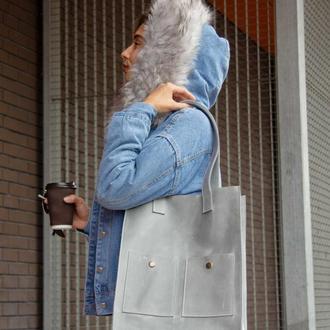 Удобная и стильная кожаная сумка для покупок серый