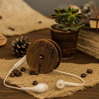 Деревянная катушка органайзер для наушников на подарок парню девушке