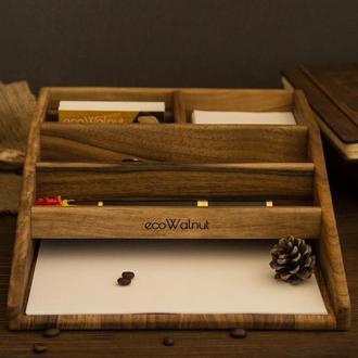 Деревянный офисный органайзер для бумаг А4 телефона планшета часов из дерева