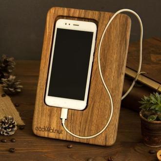 Деревянная подставка органайзер под телефон для телефона из дерева