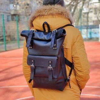 Черный, коричневый кожаный рюкзак ролл топ