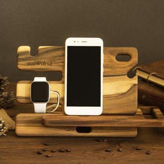 Деревянная подставка органайзер мужской для телефона часов из дерева на подарок мужу парню iWatch