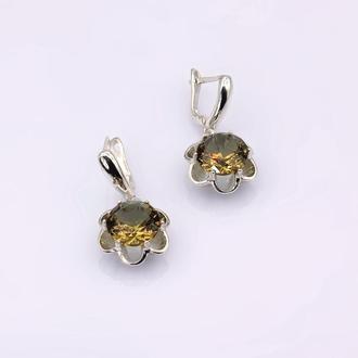 Серебряные серьги Султанит
