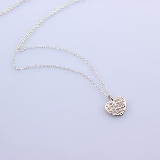 Серебряное колье Сердце с фианитами