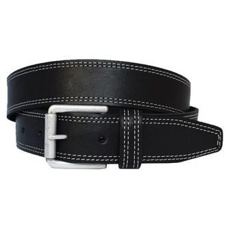 Fedor кожаный мужской черный ремень с белой строчкой кожанный пояс для джинсов