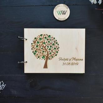 Гостевая книга / альбом пожеланий на свадьбу / свадебный фотоальбом из дерева