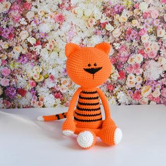 Тигр. Игрушка тигренок. Вязаная мягкая игрушка для новорожденного. Эко-игрушка. Подарок малышу.